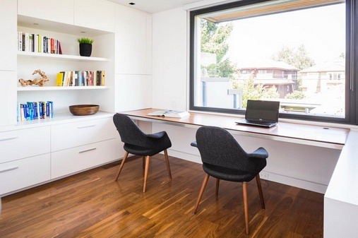 Gorgeous Long Desks For Home Office Cool Dark Chairs With White Long Desk In Small Home Office Design