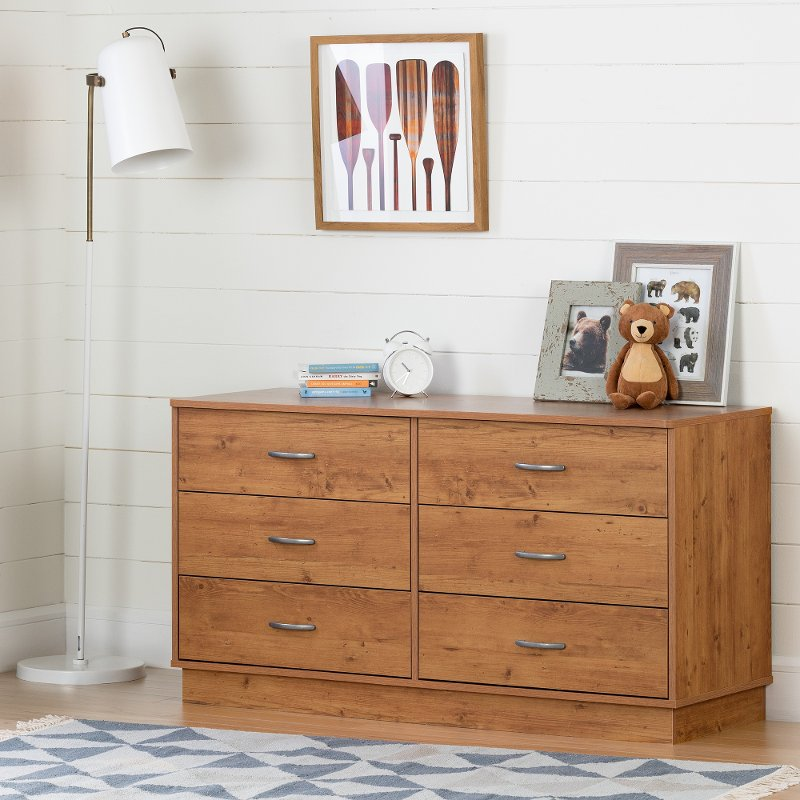 Gorgeous Pine 6 Drawer Dresser Country Pine 6 Drawer Kids Dresser Logik Rc Willey Furniture Store