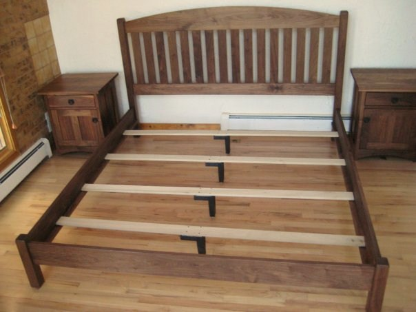 Gorgeous Queen Mattress Support Slats Solid Walnut Slat Arch Queen Bed Boulder Furniture Arts
