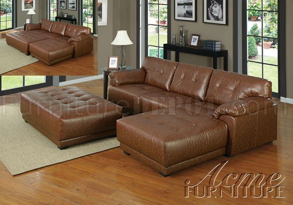 Gorgeous Sectional Sofa With Ottoman Brown Bonded Leather Modern Sectional Couch Woptional Ottoman