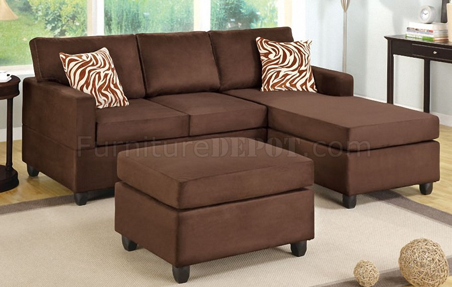 Gorgeous Small Sectional With Chaise Lounge F7661 Small Sectional Sofa In Chocolate Microfiber Poundex