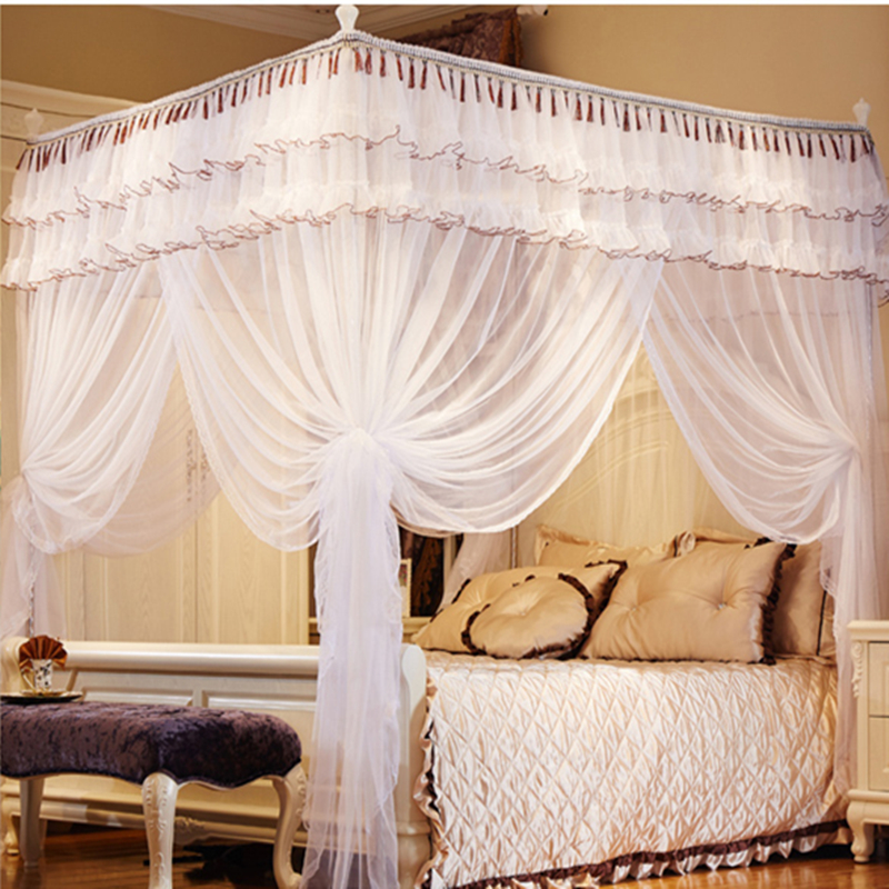 Gorgeous Steel King Size Bed Frame High Quality Metal Steel Frame 4 Corner Canopy Mosquito Net Bed King