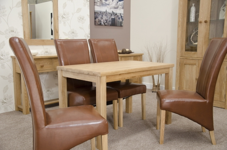 Gorgeous Tan Dining Chairs Munira Solid Oak Furniture Dining Table And Four Tan Leather