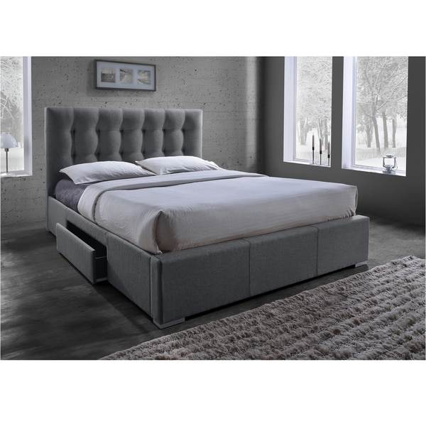 Gorgeous Upholstered Bed Frame With Drawers Sarter Contemporary Grid Tufted Grey Fabric Upholstered Storage