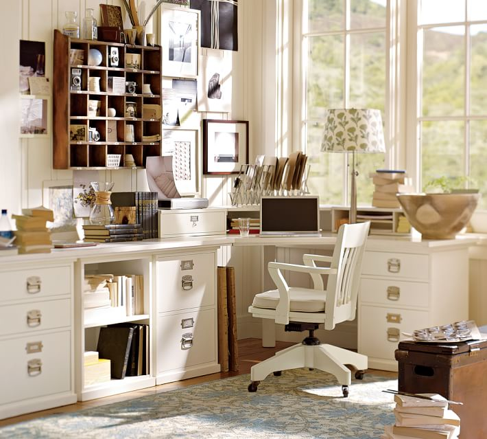Gorgeous White Home Office Furniture Build Your Own Bedford Modular Desk Pottery Barn