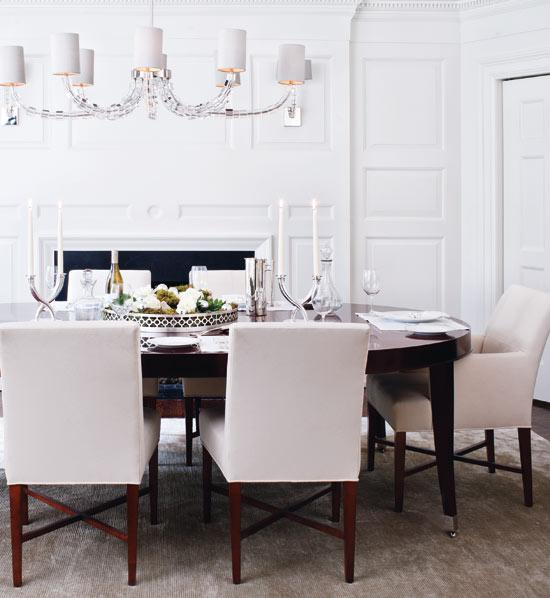 Gorgeous White Parsons Chairs Dining Room Espresso Oval Dining Table Contemporary Dining Room Mcgill