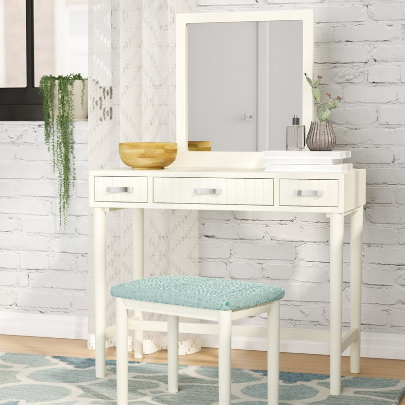 Gorgeous White Vanity Desk With Mirror Makeup Tables And Vanities Youll Love Wayfair