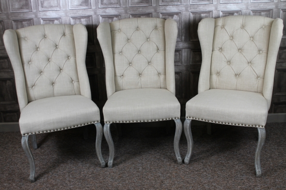 Great Armchair Style Dining Chairs French Upholstered Dining Chairs In Cream Linen
