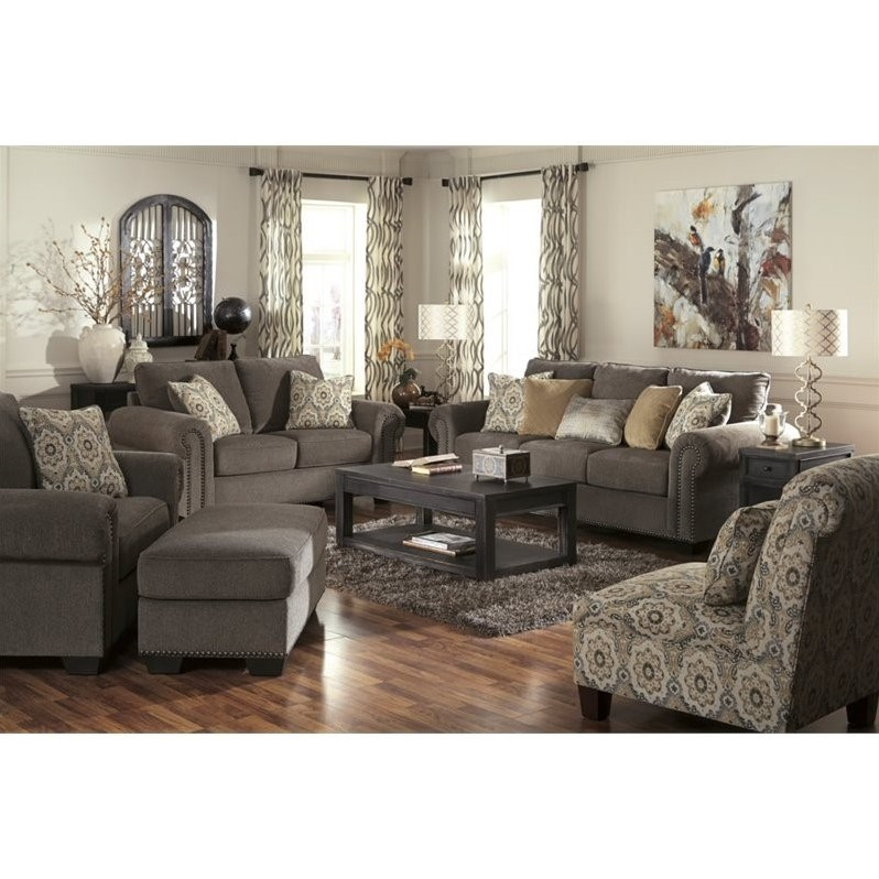 Great Ashley Furniture Chenille Sofa Ashley Emelen 5 Piece Chenille Sofa Set In Straw 45600 38 35 23