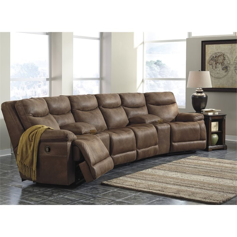 Great Ashley Furniture Reclining Sectional Ashley Valto 6 Piece Reclining Sectional In Saddle 79400 40 27