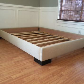 Great California King Wood Platform Bed Frame King Or Cal King Upholstered Platform Bed From Lilykayy On Etsy