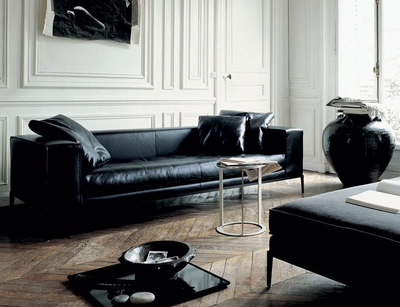Great Contemporary Black Leather Sofa Black Leather Couches Furniture Med Art Home Design Posters