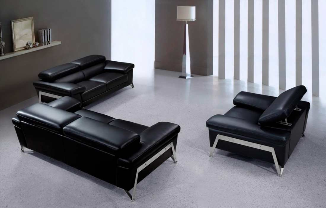 Great Contemporary Black Leather Sofa Modern Black Leather Sofa Set Vg724 Leather Sofas