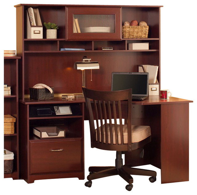 Great Corner Computer Desk With Hutch Bush Cabot 60 Corner Computer Desk With Hutch In Harvest Cherry