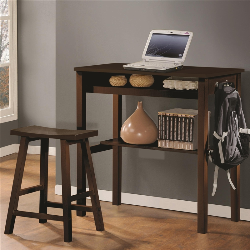 Great Counter Height Desk Counter Height Wood Desk Stool In Espresso Finish Coaster