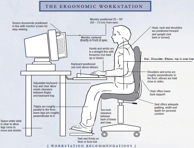 Great Ergonomic Workstation Setup Improve Your Workplace Ergonomics Action Reaction Physical Therapy