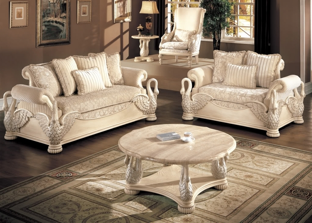 Great Formal Living Room Chairs Avignon Antique White Swan Motif Luxury Formal Living Room