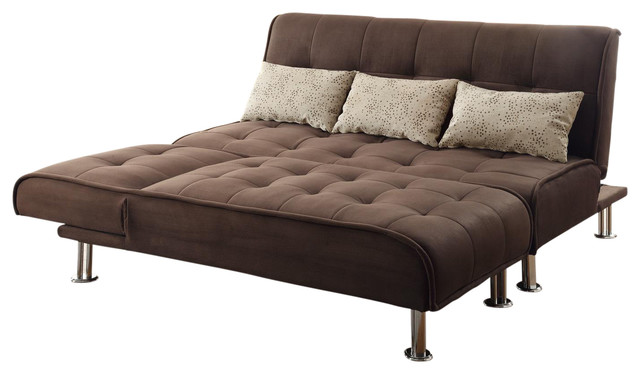 Great Futon Sectional Sleeper Sofa Brown Microfiber 2 Piece Sectional Sofa Futon Sleeper Pillow Set