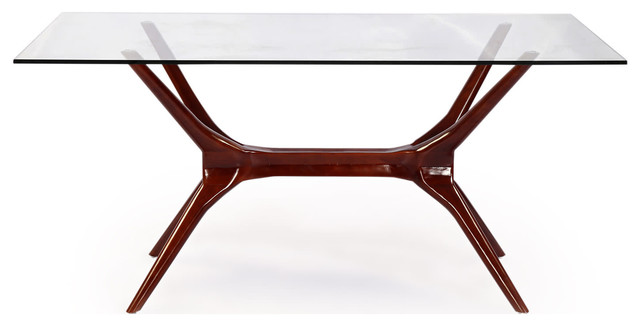 Great Glass Top Modern Dining Table Sputnik Midcentury Modern Dining Table Walnut Legs And Glass Top