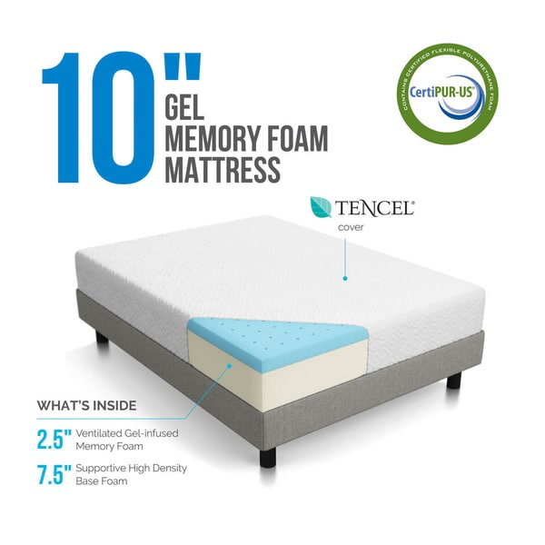 Great High Density Foam Mattress Lucid 10 Inch Queen Size Gel Memory Foam Mattress Free Shipping