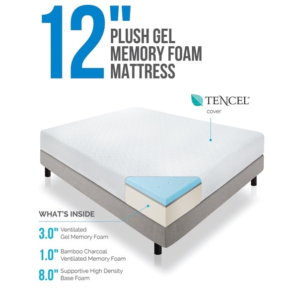 Great High Density Foam Mattress Lucid 12 Inch Queen Size Plush Gel Memory Foam Mattress Free