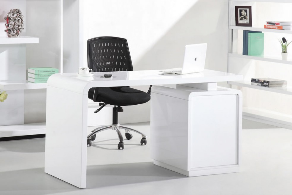 Great High Office Table Bright Design White Office Table Nice Decoration Beautiful Courbe