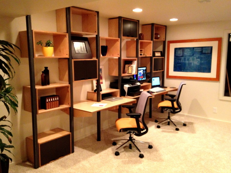 Great Home Office Desk With Shelves Home Office Cool Home Office Design With Brown Wall Mounted Desk