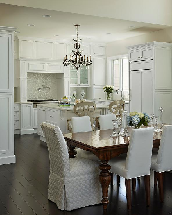 Great Ivory Kitchen Chairs Cherry Stained Dining Table With Ivory Upholstered Dining Chairs