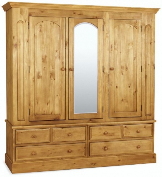 Great Mirrored Wardrobe With Drawers Pine Wardrobes With Drawers Traditional Pine Triple Wardrobe With