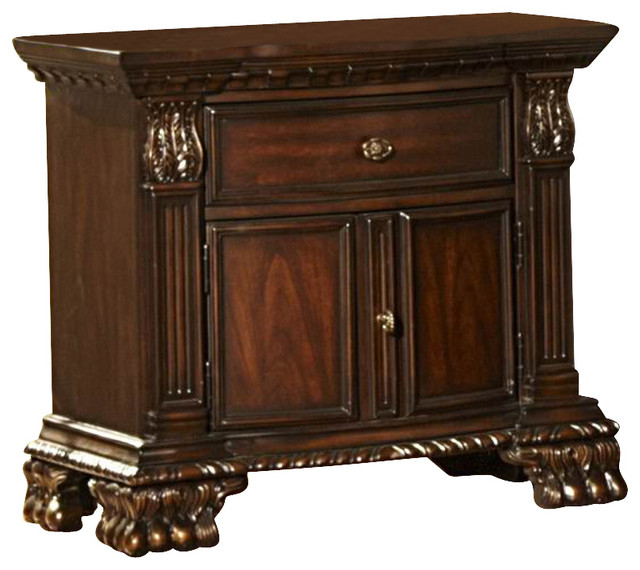 Great Nightstand With Door And Drawer Homelegance Orleans 1 Drawer 2 Door Nightstand In Rich Cherry