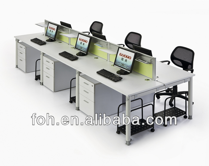 Great Office Workstation Computer Simple Design White Retangelar Long Office Computer Workstation