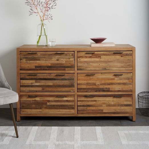 Great Pine 6 Drawer Dresser Bay Reclaimed Pine 6 Drawer Dresser Rustic Natural West Elm