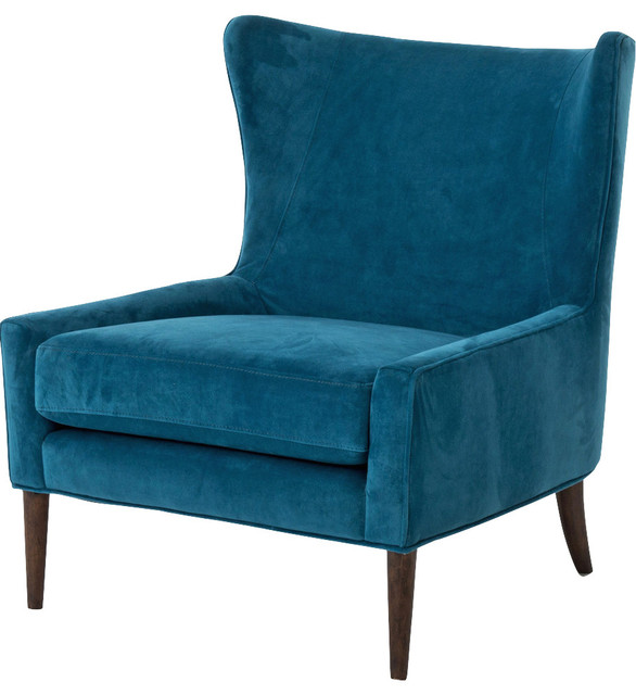 Great Teal Velvet Accent Chair Paola Modern Classic Peacock Blue Velvet Wing Lounge Chair