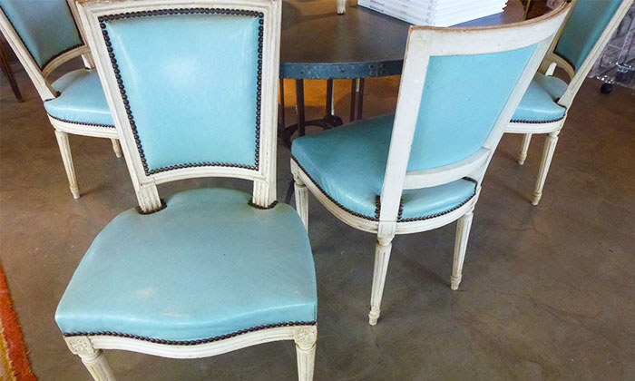 Great Turquoise Leather Dining Chairs Area Houston Antiques Furniture Soldset Of Louis Xvi Dining