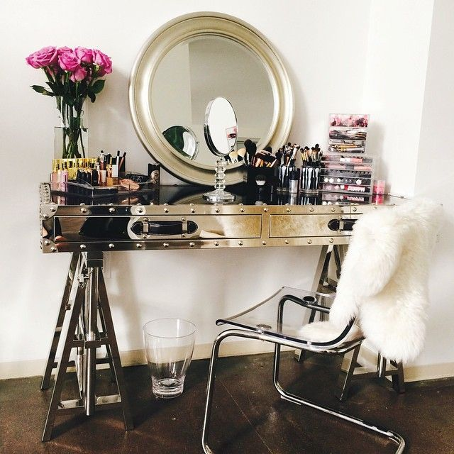 Great Vanity With Mirror And Chair Sawhorse Vanity Contemporary Closet