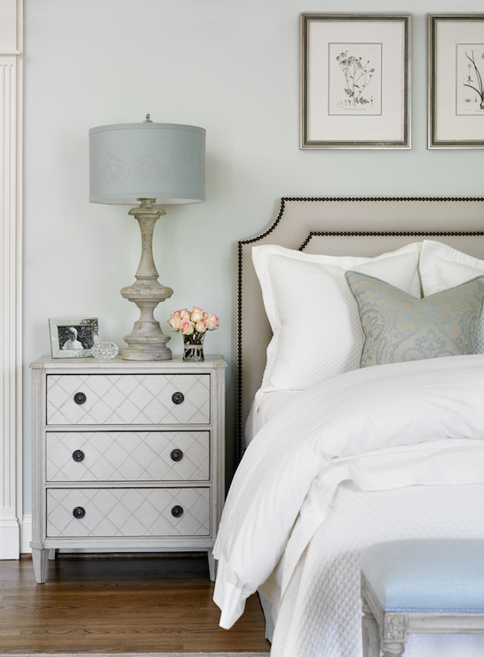 Great White And Silver Nightstand Gray Nightstand Transitional Bedroom Farrow And Ball Pale