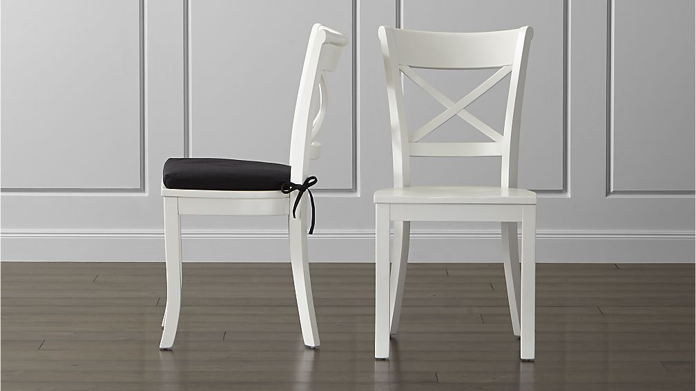 Great White And Wood Dining Chairs Vintner White Wood Dining Chair And Cushion Crate And Barrel