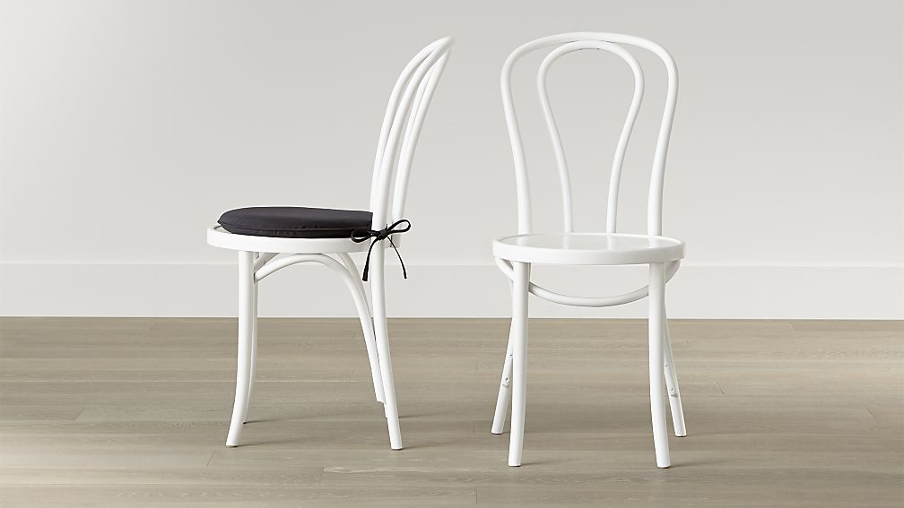 Great White Cushioned Dining Chairs Vienna White Wood Dining Chair And Cushion Crate And Barrel