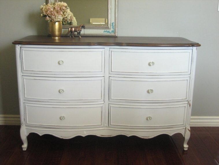 Great White Dresser With Brown Top Bedroom White Stained Wooden Six Drawer Dresser Cabinet With