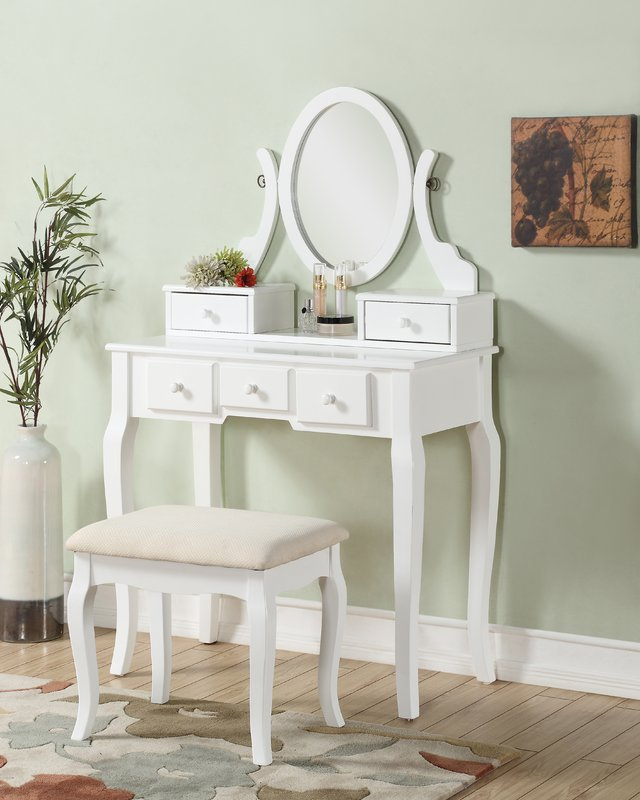 Great White Vanity With Mirror Makeup Tables And Vanities Youll Love Wayfair