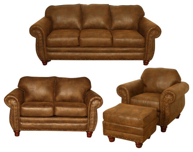 Impressive 4 Piece Leather Living Room Set Sedona 4 Piece Set With Sleeper Traditional Living Room