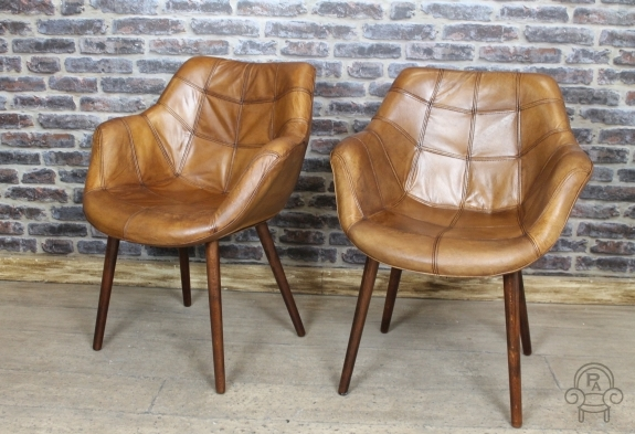 Impressive Armchair Style Dining Chairs Vintage Style Chair Tan Leather Bucket Armchair