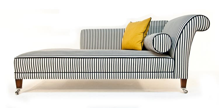 Impressive Black And White Chaise Lounge Duresta Juliette Chaise Black And White Stripe