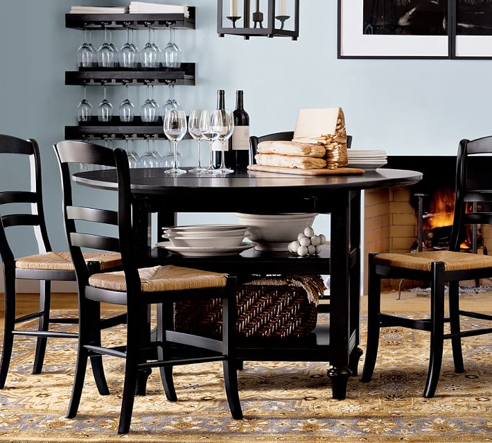 Impressive Black Dining Table And Chairs Set Shayne Table Isabella Chair 5 Piece Dining Set Pottery Barn