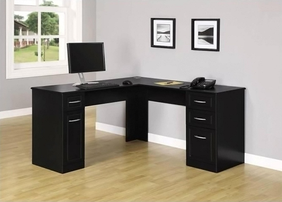 Impressive Black L Shaped Desk Wood Black L Shaped Desk Black L Shaped Desk In Handy Ashley