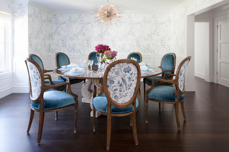 Impressive Blue And White Dining Chairs Round French Dining Table With Blue Velvet Oval Back Dining Chairs