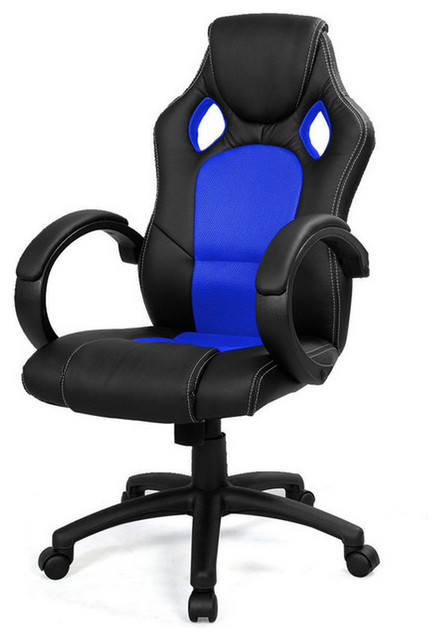 Impressive Blue Office Chair High Back Race Car Style Bucket Chair Blue Contemporary