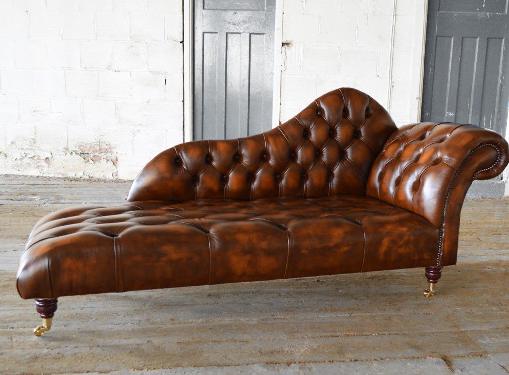 Impressive Brown Leather Chaise Longue Chesterfield Chaise Longue Leather On Casters Antique