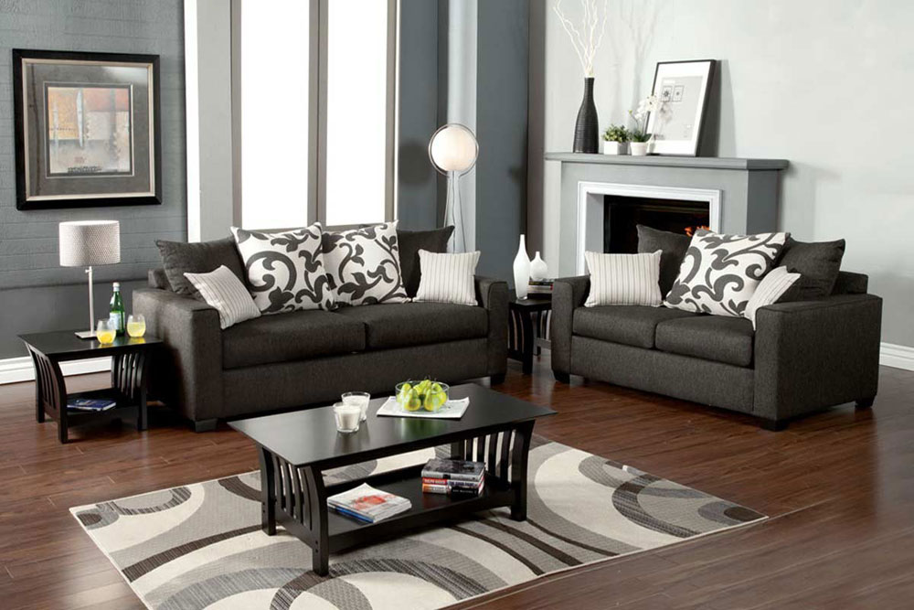 Impressive Charcoal Grey Sofa And Loveseat Medium Gray Sofa Set Fa3010 Fabric Sofas