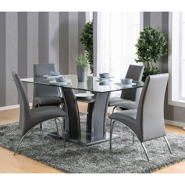 Impressive Contemporary Rectangular Dining Table Furniture Of America Ziana Contemporary Rectangular Tempered Glass